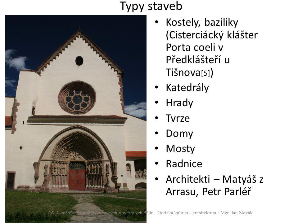 Typy staveb Kostely, baziliky (Cisterciácký klášter Porta coeli v Předklášteří u Tišnova[5]) Katedrály.